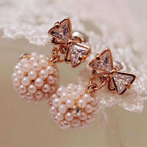 Pair of Simple Faux Pearl Embellished Ball Pendant Bowknot Pattern Earrings For Women