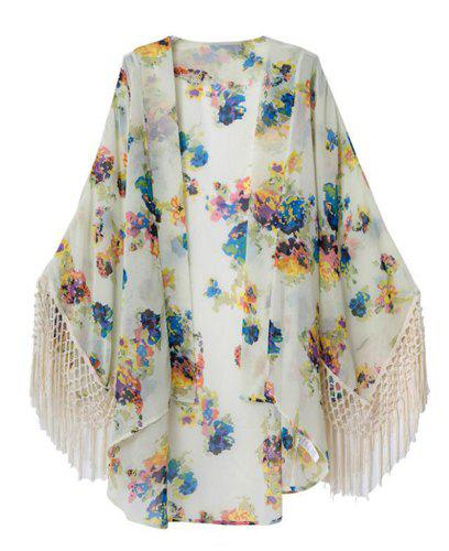 Floral Print Tassel Splicing Collarless Trendy Style Women's Blouse - COLORMIX M