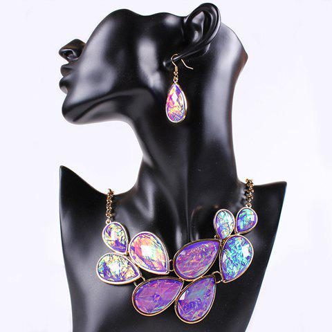 Teardrop Fake Gem Necklace and Earrings - PURPLE