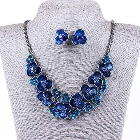 Unique Colorful Faux Gem Decorated Floral Pendant Necklace With A Pair of Earrings For Women