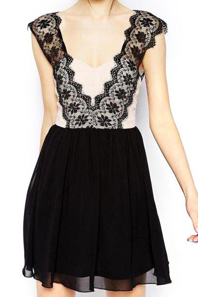 Sexy Plunging Neck Sleeveless Backless Lace Spliced Women's Dress - BLACK S