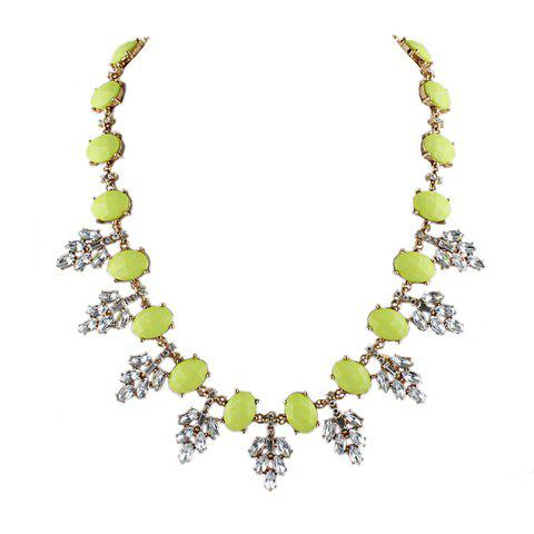 Unique Faux Gem Leaves Pattern Necklace For Women - YELLOW