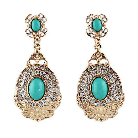 Pair of Unique Candy Color Faux Gem Decorated Waterdrop Pendant Earrings For Women - BLUE