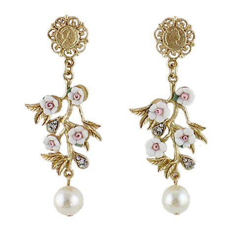 Pair of Unique Faux Pearl Decorated Floral and Leaves Pendant Earrings For Women - AS THE PICTURE