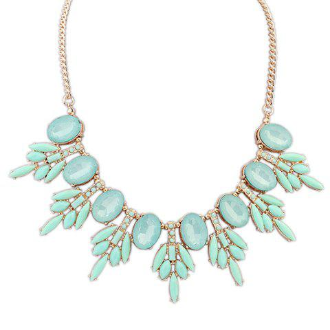 Unique Waterdrop Shape Faux Gem Decorated Leaves Pendant Necklace For Women - GREEN