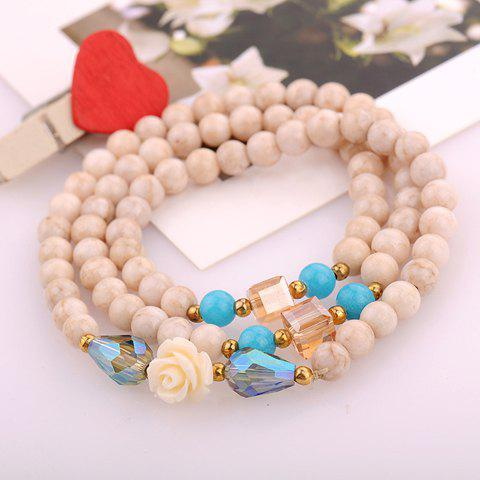 Stylish Cute Beads Layered Flower Decorated Bracelet For Women - WHITE