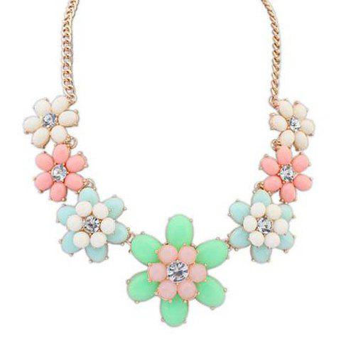 Chic Rhinestoned Flower Shape Pendant Necklace For Women