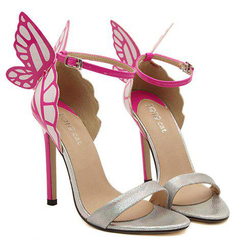 Trendy Butterfly Wings and Color Block Design Sandals For Women - SILVER 37
