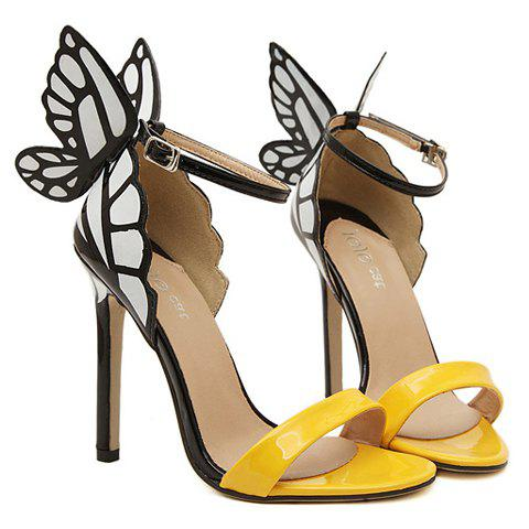 Trendy Butterfly Wings and Color Block Design Sandals For Women - YELLOW 36