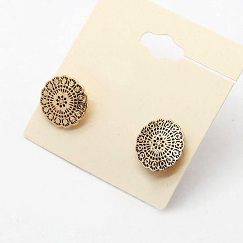 Pair of Flower Pattern Round Earrings - BLACK