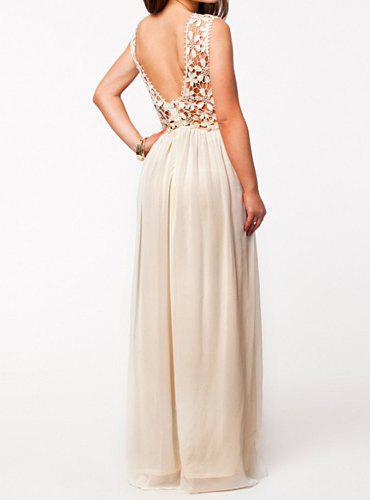 Sexy Style Backless Sleeveless Round Collar Hollow Out Design Maxi ...