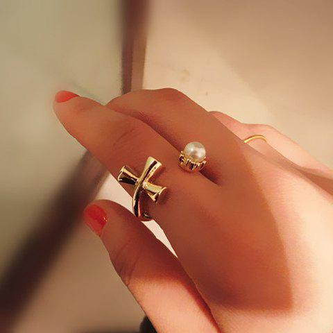 Fashion Faux Pearl Decorated Cross Cuff Ring For Women - GOLDEN ONE-SIZE