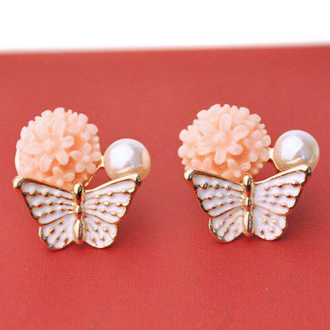 Pair of Exquisite Flower and Butterfly Pattern Stud Earrings For Women - PINK