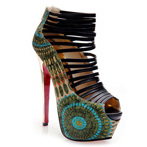 Stylish Print and Stiletto Design Peep Toed Shoes For Women - CADETBLUE 39