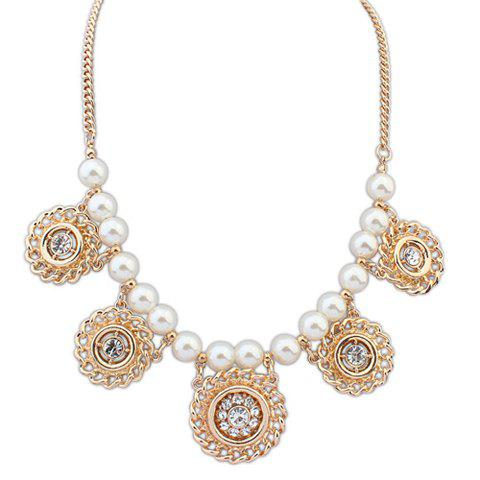 Hot Sale Pearl Rhinestoned Round Pendant Necklace - AS THE PICTURE