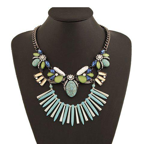 Stud Design Rhinestoned Flower Pendant Necklace - BLUE