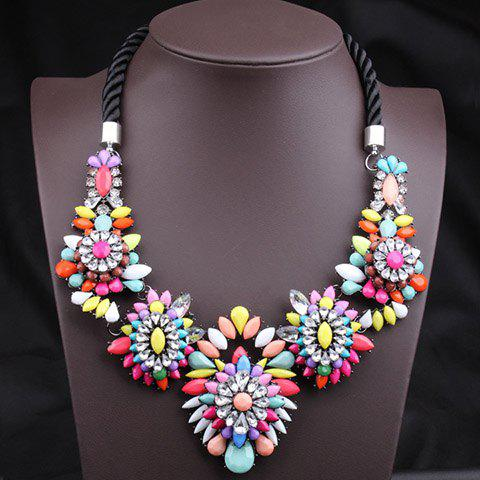 Exaggerated Colorful Gemstone Flower Pendants Women's Fashion Rope Necklace - COLORFUL