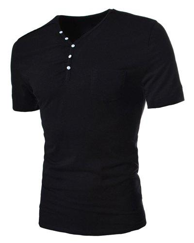Simple Style Solid Color Slimming V-Neck Button Personality Embellished Short Sleeves Men's Cotton Blend T-Shirt - L BLACK