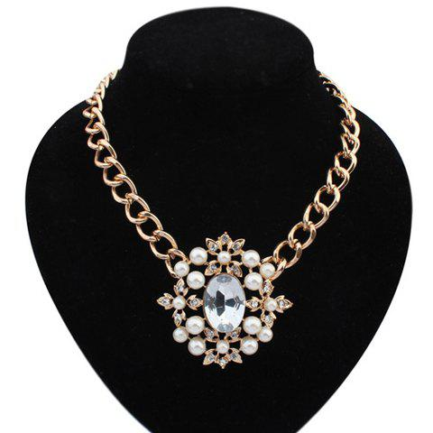 Faux Gem Pearl Decorated Flower Pendant Necklace - COLOR ASSORTED