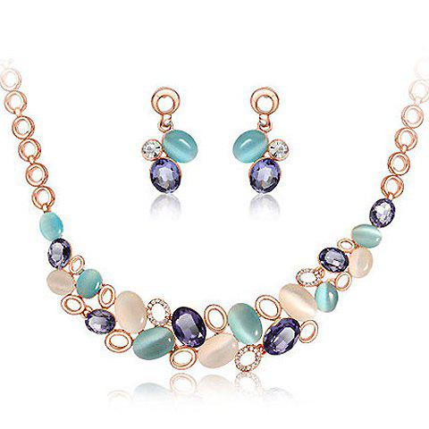 Fashion Colorful Oval Faux Opal Decorated Pendant Necklace With a Pair of Earrings For Women - AS THE PICTURE