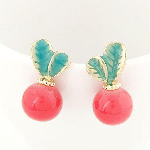 Pair of Exquisite Candy Color Radish Shape Stud Earrings For Women - RED