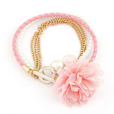 Fashion Lace Flower Decorated Multi-Layered Bracelets For Women - COLOR ASSORTED