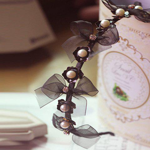 Stylish Faux Pearl Decorated Camellia and Bowknot Pattern Hairband For Women