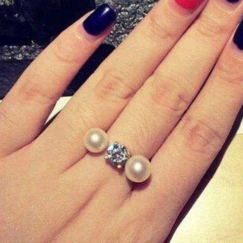 Charming Faux Pearl Embellished Cuff Ring For Women - WHITE GOLDEN ONE-SIZE