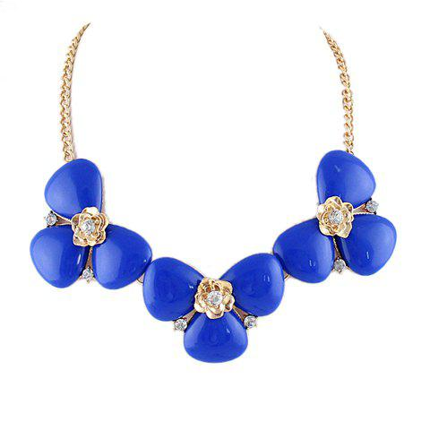Gorgeous Chic Rhinestone Solid Color Flower Pendant Necklace For Women - BLUE
