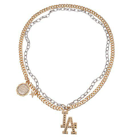 Delicate Letter LA Pendant Double-Layer Necklace For Women -  AS THE PICTURE