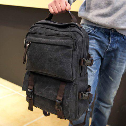 Casual Canvas and Zipper Design Backpack For Men - BLACK