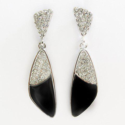 Pair of Triangle Pendant Rhinestone Earrings - COLOR ASSORTED