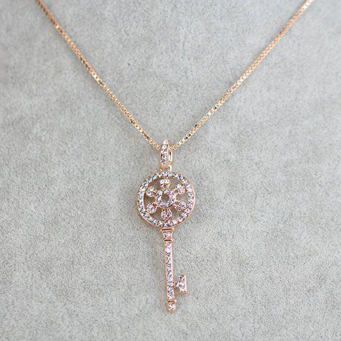 Chic Diamante Key-Shaped Pendant Necklace For Women - ROSE GOLD