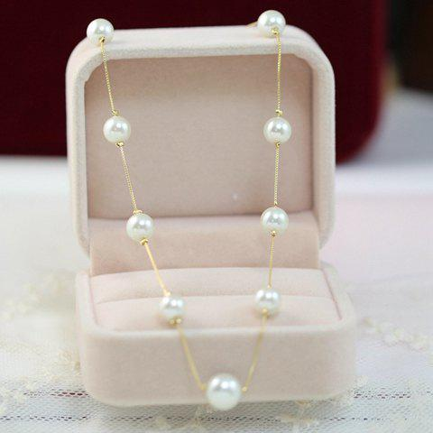 Chic Faux Pearl Embellished Necklace For Women - COLOR ASSORTED