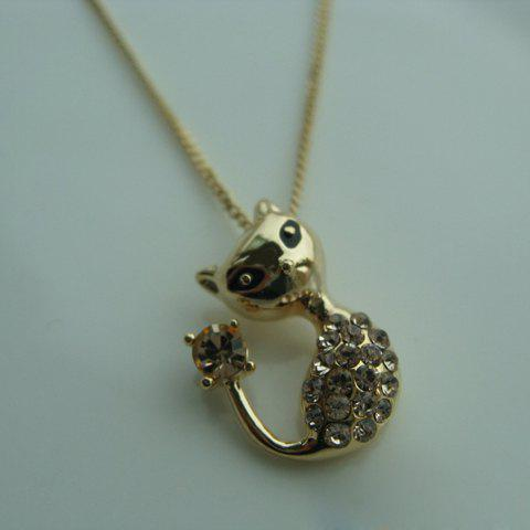 Chic Diamante Cat Pendant Necklace For Women - GOLDEN
