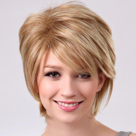 Fluffy Inclined Bang Linen Short Straight Laconic Stylish Women's Synthetic Wig - FLAX