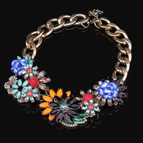 Vintage Colorful Gemstone Decorated Floral Pendants Necklace For Women