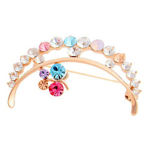 Exquisite Colorful Diamante Openwork Crescent Brooch For Women - COLORMIX