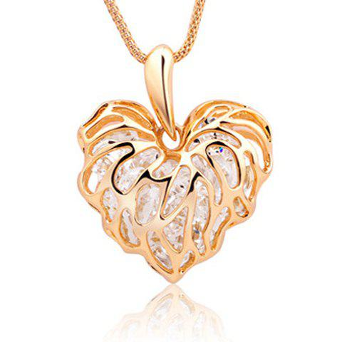 New Fashion Hollow Leaves Love Zircon Sweater Chain Pendant Long Necklace - GOLDEN