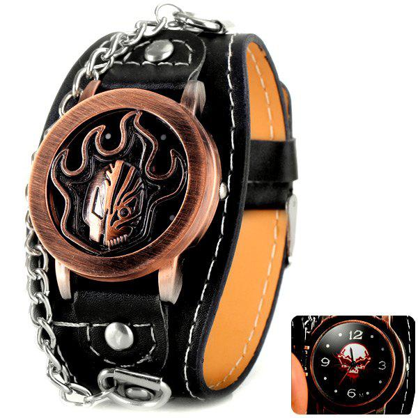 Flip Fire Pattern Cover Quartz Wrist Watch with Analog Leather Watchband + Chain for Men