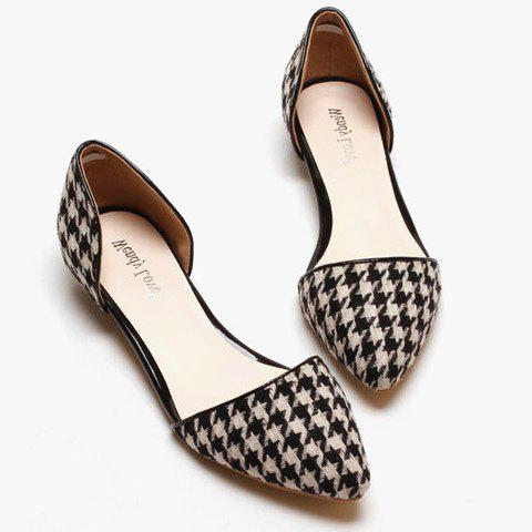 simple houndstooth and flat design flat shoes for