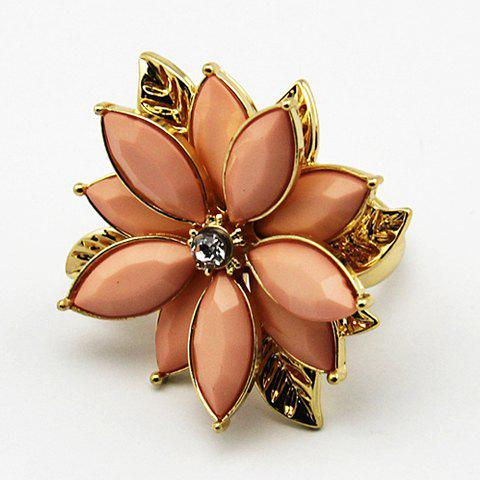 Fashion Multi-Layered Faux Gem Decorated Floral Ring For Women - PINK ONE-SIZE