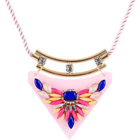 Delicate Chic Beads Triangle Pendant Necklace For Women - PINK