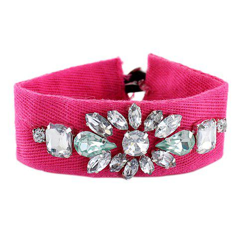 Chic Faux Crystal Decorated Flower Pattern Wide Bracelet For Women - ROSE MADDER