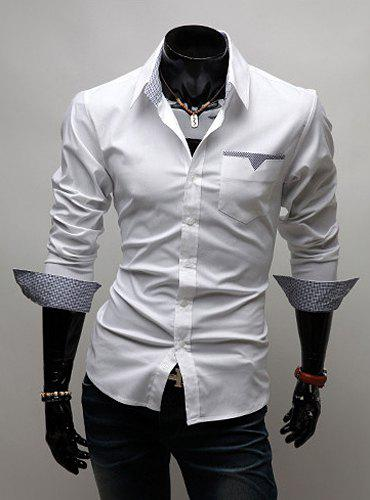 Fashion Style Turn-down Collar Personality Pocket Embellished Long Sleeves Men's Polyester Shirt