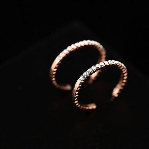 Pair of Circle with Rhinestone Inlaid Earrings - ROSE GOLD