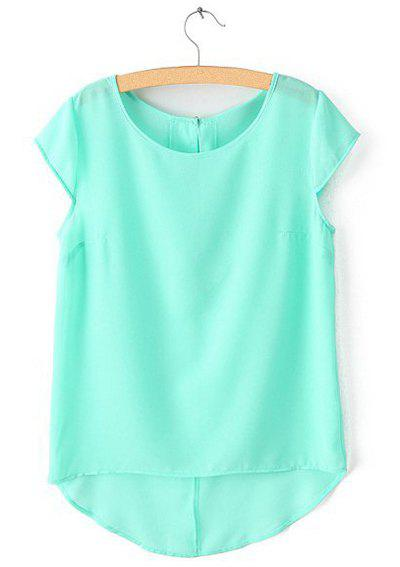 Simple style scoop collar solid color chiffon all match for Mint color t shirt