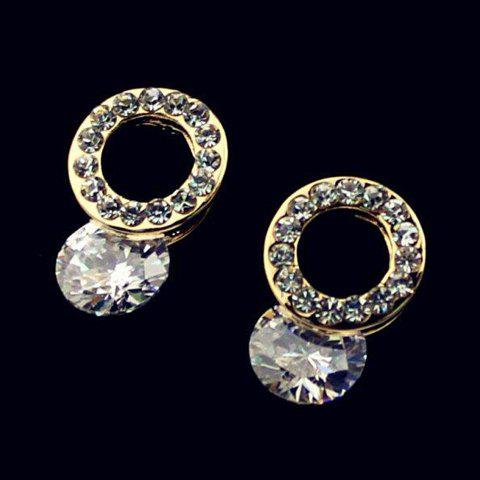 Pair of Fresh Zircon Decorated Round Stud Earrings For Women