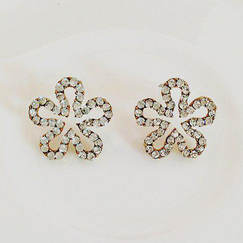 Pair of Fresh Openwork Diamante Wintersweet Pattern Stud Earrings For Women - AS THE PICTURE