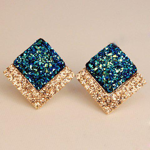 Pair of Chic Square Shape Rhinestone Decorated Stud Earrings For Women - SAPPHIRE BLUE